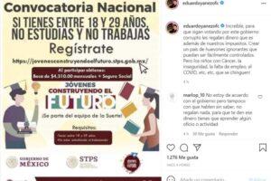 """Ignorant """"Huevones"""", Eduardo Yáñez against """"Jóvenes Construyendo el Futuro""""."""